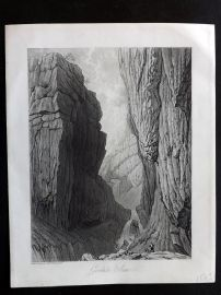 Westall 1818 Antique Print. Gordale Scar, Yorkshire